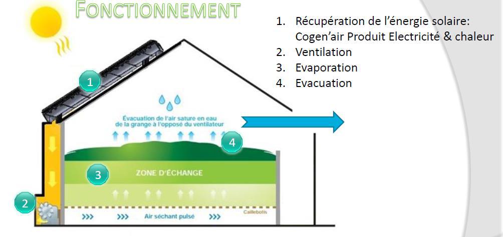 Fonctionnement du système Cogen'air - Séchage en grange - E'solaire